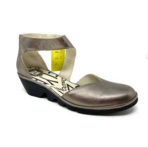 Fly London PATS801FLY bronze leather wedge